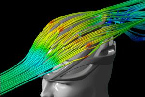 Luftströmungen am Helm