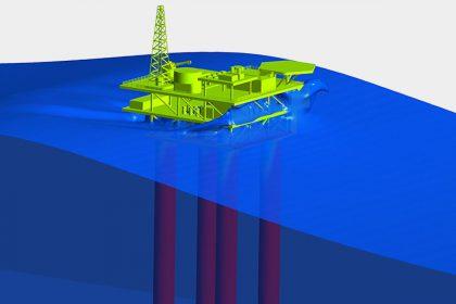 OptimumOne Strömungssimulation Wellenbelastung auf Offshore Plattform