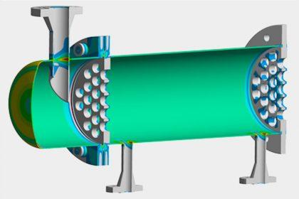 FEM-Berechnung und Festigkeitsnachweis Druckgeräterichtlinie DIN EN 13445 eines Wärmetauschers durch OptimumOne GmbH