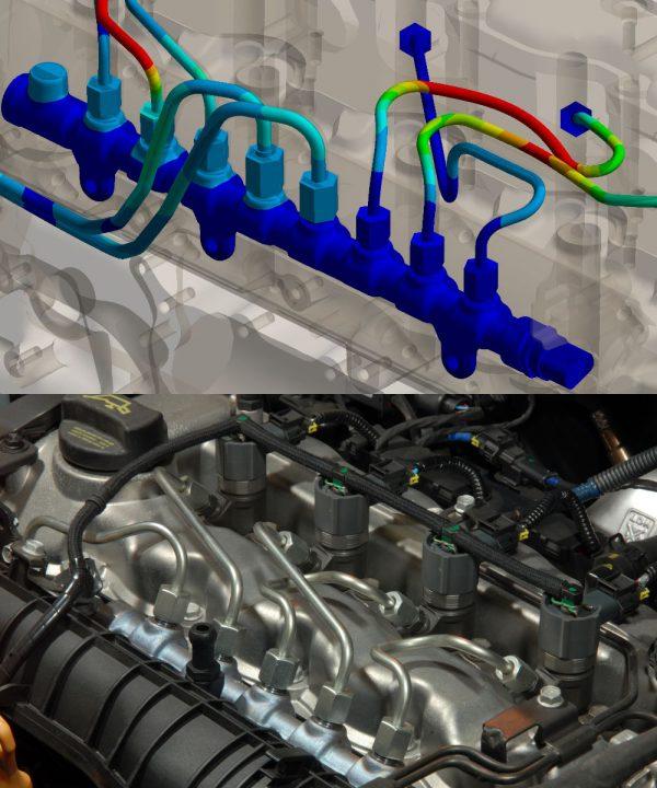 OptimumOne GmbH führt mittels FEM-Simulation eine Schwingungsanalyse und Modalanalyse eines Common Rail durch