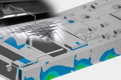 Erdbebensimulation Grundrahmen einer Gasturbine von OptimumOne mit Hilfe einer FEM-Simulation
