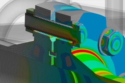 FEM-Simulation Dienstleistung von OptimumOne: Flanschverbindung mit Schraubenvorspannung