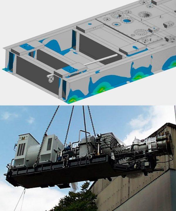 OptimumOne hat mittels FEM-Simulation den Grundrahmen einer Gasturbine berechnet und optimiert.