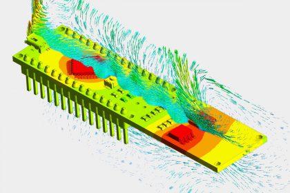 OptimumOne ermittelt berechnet Temperaturfeld einer Elektronik Komponente mittels thermischer Strömungssimulation als Dienstleistung
