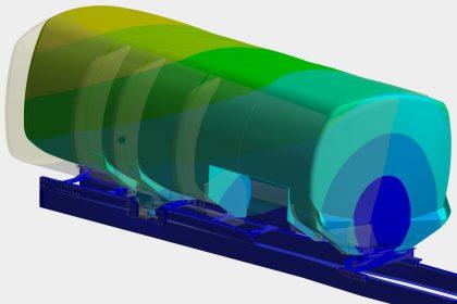 OptimumOne führt FEM-Simulation für Gefahrgut Tankaufbau nach ADR durch. Das Bild zeig die Verformung.