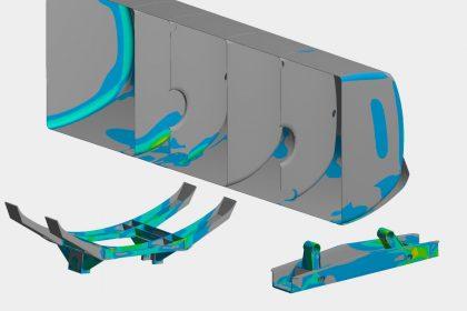 OptimumOne führt FEM-Simulation für Gefahrgut Tankaufbau nach ADR durch. Das Bild zeig die Spannungsverteilung
