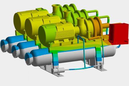 OptimumOne hat mittels FEM-Simulation eine Erdbebenberechnung durchgeführt und einen Standsicherheitsnachweis an einem Grundrahmen von einem Kühlaggregat erstellt