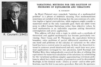 Geschichte der Finite-Elemente-Methode | Courant hat ein Standard-Verfahren bei der numerischen Lösung partieller Differentialgleichungen entwickelt, er legte Grundsteine für die Finite-Elemente-Methode