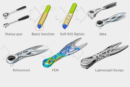 OptimumOne entwickelt mittels Topologieoptimierung und FEM-Simulation eine Leichtbau Ratsche