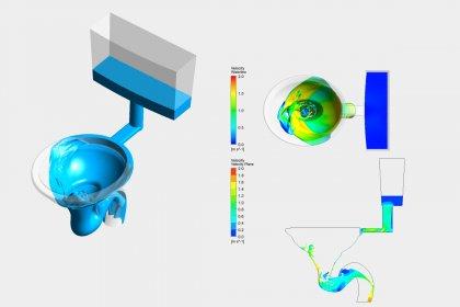 OptimumOne berechnet Strömung im WC und Toilettenspülung mit CFD-Simulation
